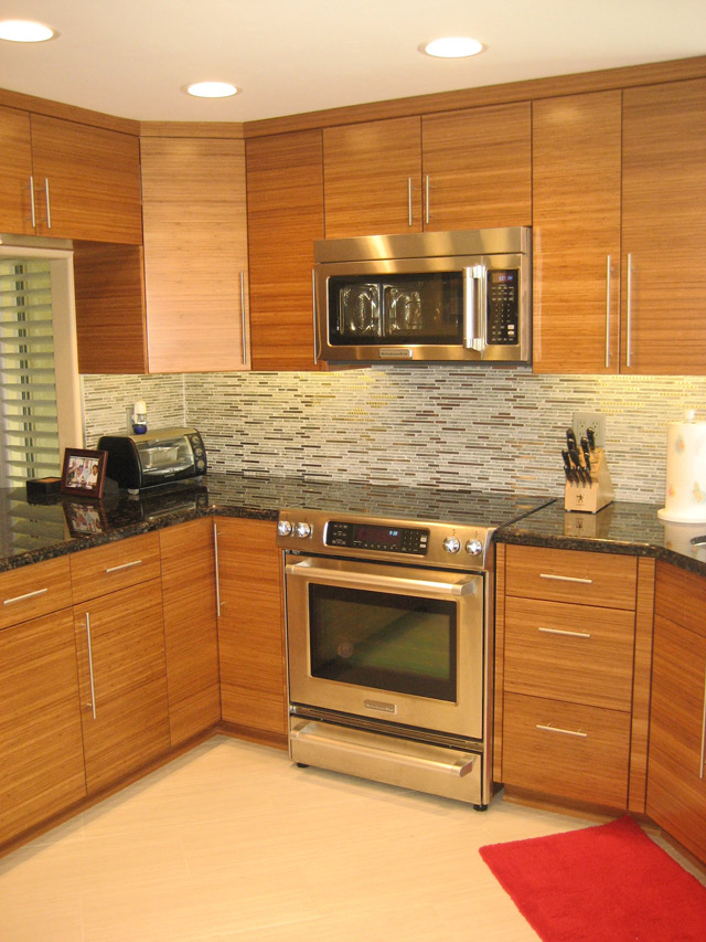 Slab Bamboo Kitchen Cabinets